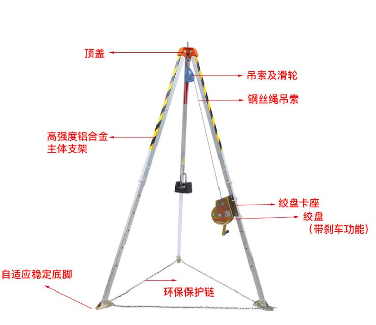 消防救援三脚架,铝合金有限空间三脚架,EN795多功能起重三角支架